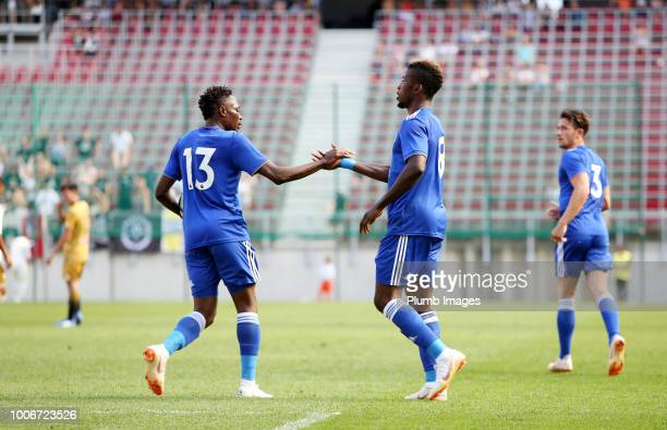 Kelechi Iheanacho of Leicester City celebrates with Ahmed Musa of Leicester City after scoring to make it 12 during the preseason friendly match...