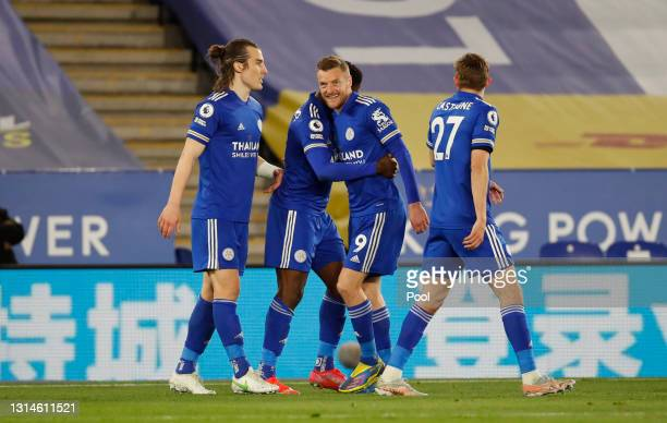 Kelechi Iheanacho of Leicester City celebrates with Caglar Soyuncu, Jamie Vardy and Timothy Castagne after scoring their team's second goal during...