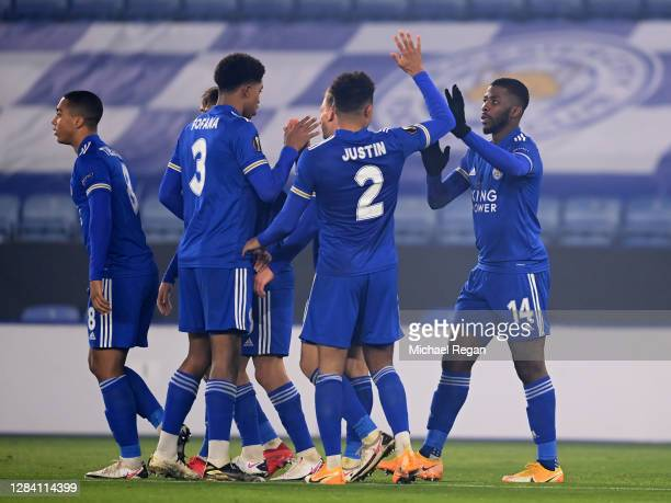 Kelechi Iheanacho of Leicester City celebrates with his team mates after scoring his team's second goal during the UEFA Europa League Group G stage...