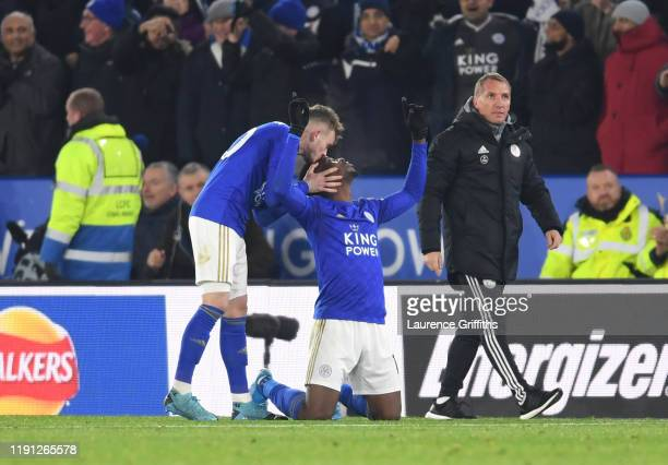 Kelechi Iheanacho of Leicester City celebrates with James Maddison of Leicester City after he scores his sides second goal during the Premier League...