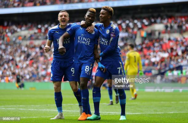 Kelechi Iheanacho of Leicester City celebrates with Jamie Varady of Leicester City nd Demarai Gray of Leicester City after scoring his sides third...