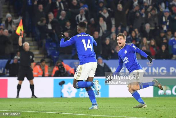 Kelechi Iheanacho of Leicester City celebrates with Jamie Vardy of Leicester City after he scores his sides second goal during the Premier League...