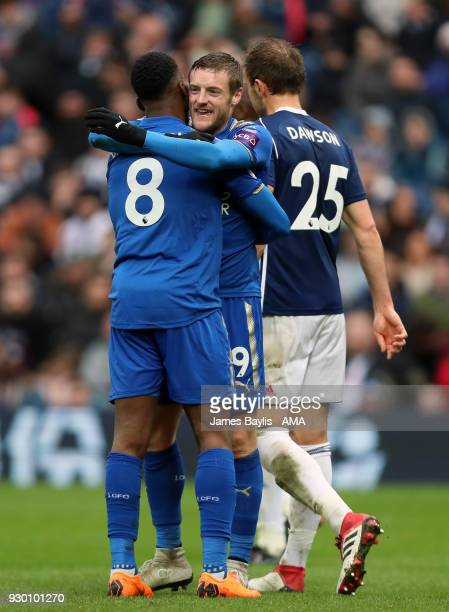 Kelechi Iheanacho of Leicester City celebrates with Jamie Vardy of Leicester City after scoring a goal to make it 13 during the Premier League match...