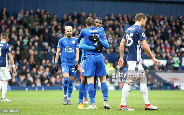Kelechi Iheanacho of Leicester City celebrates with Jamie Vardy of Leicester City after scoring to make it 13 during the Premier League match between...