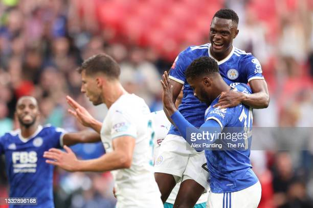 Kelechi Iheanacho of Leicester City celebrates with Patson Daka after scoring their side's first goal during The FA Community Shield Final between...