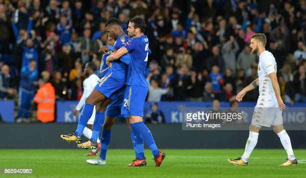 Kelechi Iheanacho of Leicester City celebrates with Vicente Iborra of Leicester City after scoring from outside the box to make it 11 during the...