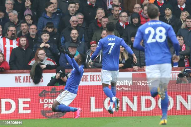 Kelechi Iheanacho of Leicester City celebrating his teams first goal during the FA Cup match between Brentford and Leicester City at Griffin Park...