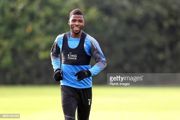 Kelechi Iheanacho of Leicester City during the Leicester City training session at Belvoir Drive Training Complex on November 02 2017 in Leicester...