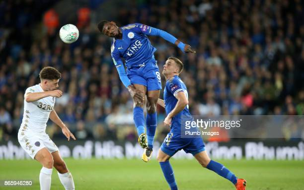 Kelechi Iheanacho of Leicester City heads the ball during the Carabao Cup match between Leicester City and Leeds United at King Power Stadium on...