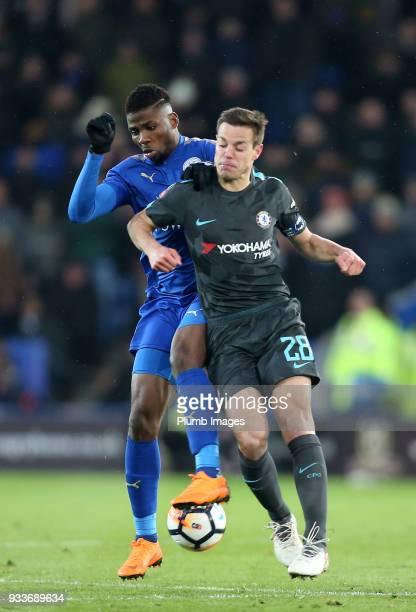 Kelechi Iheanacho of Leicester City in action with Cesar Azpilicueta of Chelsea during The Emirates FA Cup Quarter Final tie between Leicester City...