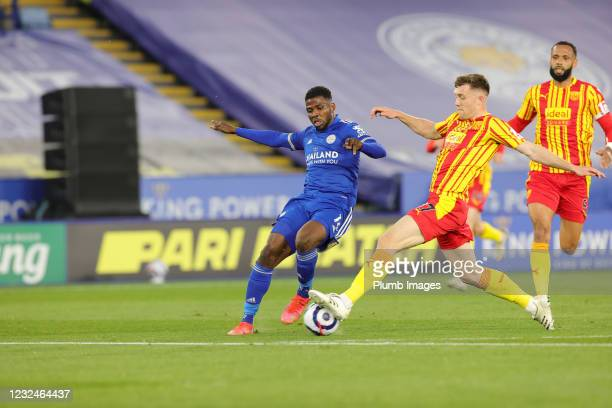 Kelechi Iheanacho of Leicester City in action with Dara O'Shea of West Bromwich Albion during the Premier League match between Leicester City and...