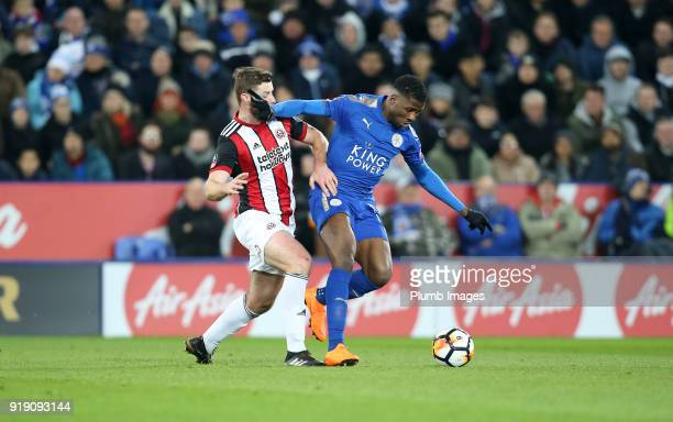 Kelechi Iheanacho of Leicester City in action with Jack O'Connell of Sheffield United during the FA Cup fifth round match between Leicester City and...