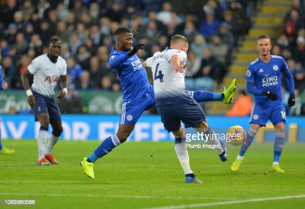 Kelechi Iheanacho of Leicester City in action with Toby Alderweireld of Tottenham Hotspur during the Premier League match between Leicester City and...