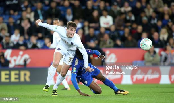 Kelechi Iheanacho of Leicester City is brought down by Conor Shaughnessy of Leeds United during the Carabao Cup fourth round match between Leicester...