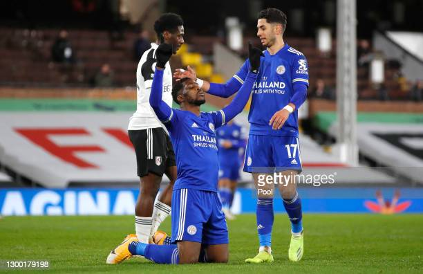 Kelechi Iheanacho of Leicester City is congratulated by team mate Ayoze Perez after scoring their side's first goal during the Premier League match...