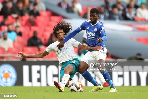 Kelechi Iheanacho of Leicester City is fouled by Nathan Ake of Manchester City leading to a penalty being awarded during The FA Community Shield...