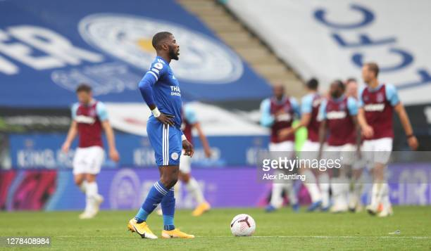 Kelechi Iheanacho of Leicester City looks dejected during the Premier League match between Leicester City and West Ham United at The King Power...