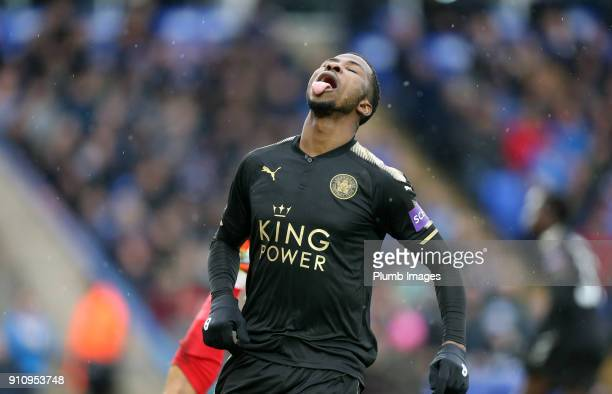 Kelechi Iheanacho of Leicester City reacts after seeing a shot go wide during The Emirates FA Cup Fourth Round tie between Peterborough United and...