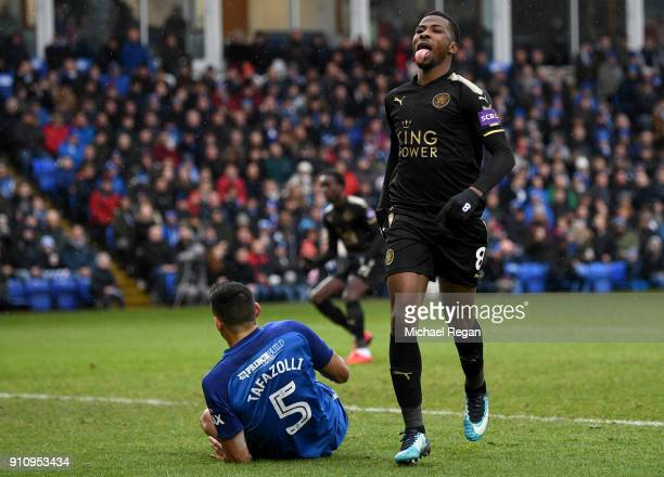 Kelechi Iheanacho of Leicester City reacts following a missed chance during The Emirates FA Cup Fourth Round match between Peterborough United and...