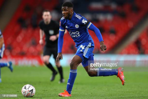 Kelechi Iheanacho of Leicester City runs with the ball during the Semi Final of the Emirates FA Cup between Leicester City and Southampton FC at...
