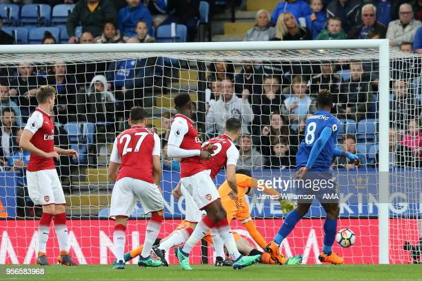 Kelechi Iheanacho of Leicester City scores a goal to make it 10 during the Premier League match between Leicester City and Arsenal at The King Power...