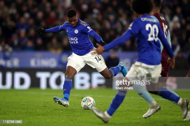 Kelechi Iheanacho of Leicester City scores a goal to make it 11 during the Carabao Cup Semi Final match between Leicester City and Aston Villa at The...