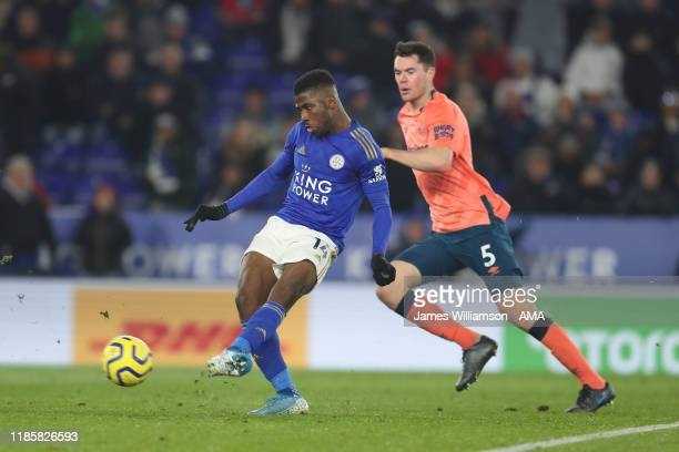 Kelechi Iheanacho of Leicester City scores a goal to make it 21 during the Premier League match between Leicester City and Everton FC at The King...