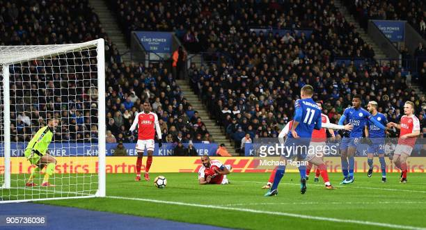 Kelechi Iheanacho of Leicester City scores but the goal is disallowed during The Emirates FA Cup Third Round Replay match between Leicester City and...