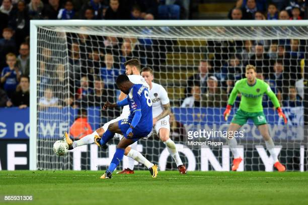Kelechi Iheanacho of Leicester City scores his sides first goal during the Caraboa Cup Fourth Round match between Leicester City and Leeds United at...