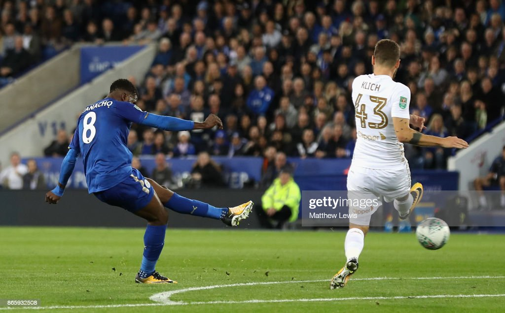 Kelechi Iheanacho of Leicester City scores his sides first goal during the Caraboa Cup Fourth Round match between Leicester City and Leeds United at The King Power Stadium on October 24, 2017 in Leicester, England.