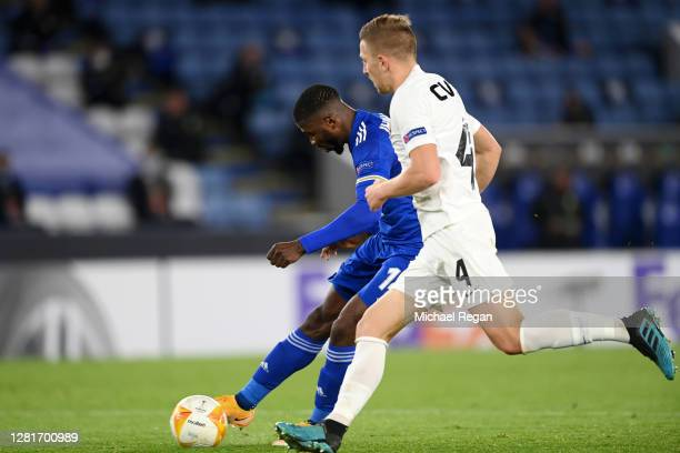 Kelechi Iheanacho of Leicester City scores his sides third goal during the UEFA Europa League Group G stage match between Leicester City and Zorya...
