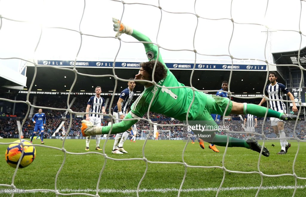 Kelechi Iheanacho of Leicester City scores his side's third goal during the Premier League match between West Bromwich Albion and Leicester City at The Hawthorns on March 10, 2018 in West Bromwich, England.