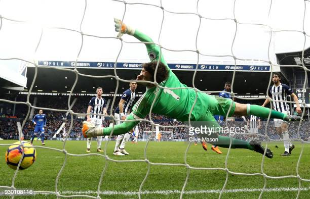 Kelechi Iheanacho of Leicester City scores his side's third goal during the Premier League match between West Bromwich Albion and Leicester City at...