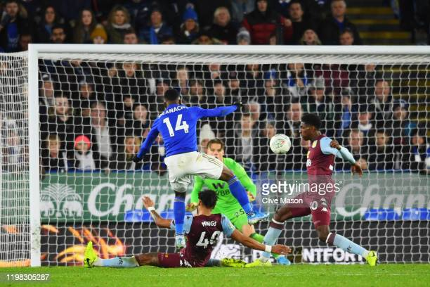 Kelechi Iheanacho of Leicester City scores his team's first goal during the Carabao Cup Semi Final match between Leicester City and Aston Villa at...