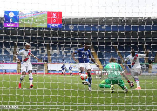 Kelechi Iheanacho of Leicester City scores his team's first goal during the Premier League match between Leicester City and Crystal Palace at The...