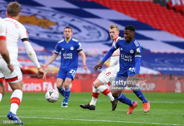 Kelechi Iheanacho of Leicester City scores his team's first goal during the Semi Final of the Emirates FA Cup between Leicester City and Southampton...