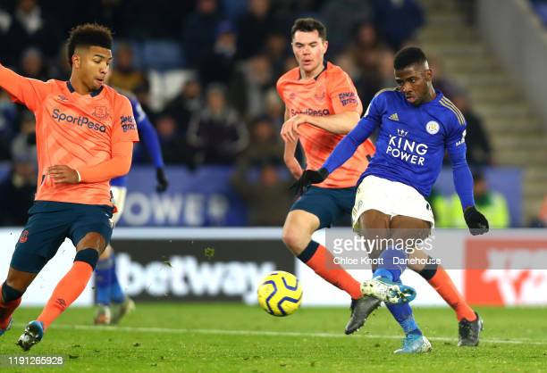 Kelechi Iheanacho of Leicester City scores his teams second goal during the Premier League match between Leicester City and Everton FC at The King...