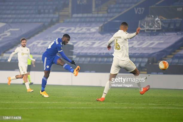 Kelechi Iheanacho of Leicester City scores his team's second goal during the UEFA Europa League Group G stage match between Leicester City and SC...