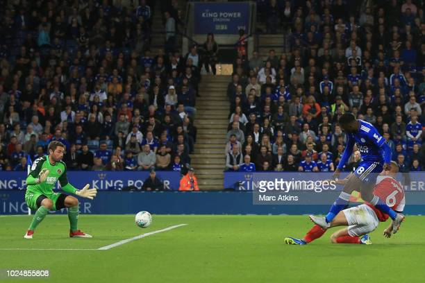 Kelechi Iheanacho of Leicester City scores their 3rd goal during the Carabao Cup Second Round match between Leicester City and Fleetwood Town at The...