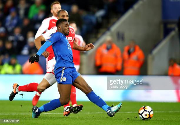 Kelechi Iheanacho of Leicester City scores their first goal during The Emirates FA Cup Third Round Replay match between Leicester City and Fleetwood...