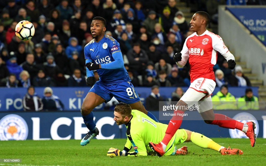 Kelechi Iheanacho of Leicester City (8) scores their second goal past Chris Neal of Fleetwood Town during The Emirates FA Cup Third Round Replay match between Leicester City and Fleetwood Town at The King Power Stadium on January 16, 2018 in Leicester, England. The goal was initally disallowed, but was awarded following a VAR decision.
