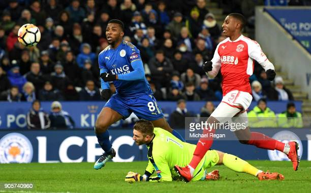 Kelechi Iheanacho of Leicester City scores their second goal past Chris Neal of Fleetwood Town during The Emirates FA Cup Third Round Replay match...
