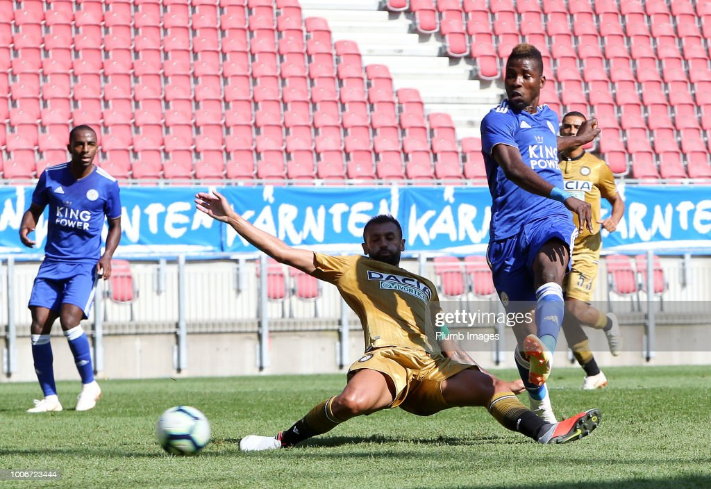 Kelechi Iheanacho of Leicester City scores to make it 1-2 during the pre-season friendly match between Leicester City and Udinese at Worthersee Stadion on July 28, 2018 in Klagenfurt, Austria.