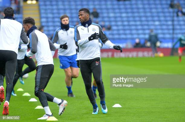 Kelechi Iheanacho of Leicester City warms up at King Power Stadium ahead of the Premier League match between Leicester City and Swansea City at King...