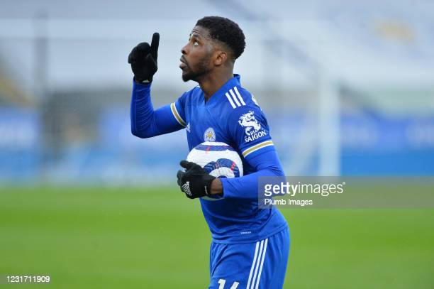 Kelechi Iheanacho of Leicester City with the match ball after scoring a hat trick during the Premier League match between Leicester City and...