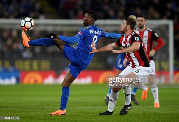 Kelechi Iheanacho of Leicester controls the ball under pressure from Jack O'Connell of Sheffield United during The Emirates FA Cup Fifth Round match...