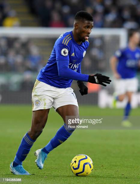 Kelechi Iheanacho of Leicester in action during the Premier League match between Leicester City and Norwich City at The King Power Stadium on...