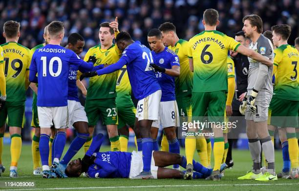 Kelechi Iheanacho of Leicester is surrounded by players from both sides during the Premier League match between Leicester City and Norwich City at...