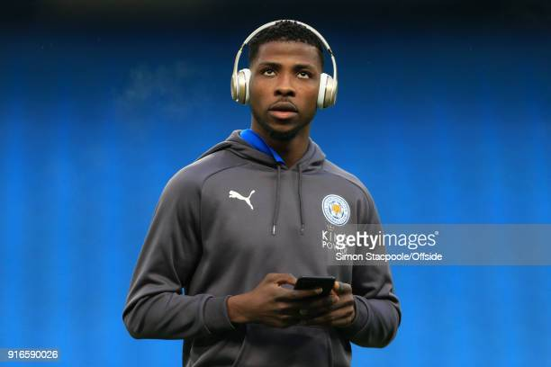 Kelechi Iheanacho of Leicester looks on before the Premier League match between Manchester City and Leicester City at the Etihad Stadium on February...