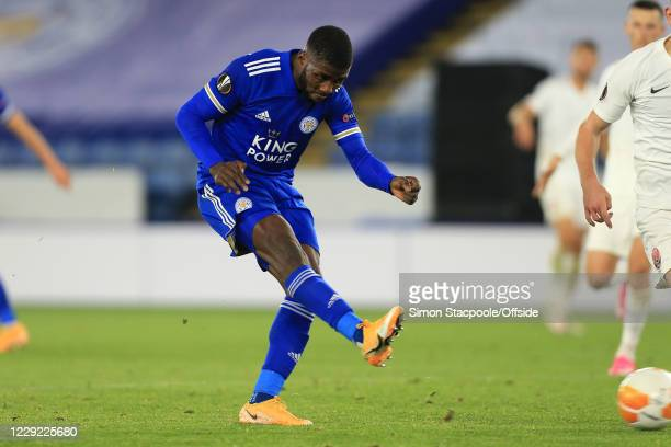 Kelechi Iheanacho of Leicester scores their 3rd goal during the UEFA Europa League Group G match between Leicester City and Zorya Luhansk at The King...